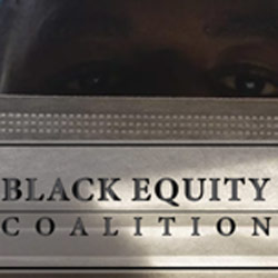 Black Equity Coalition with Mask and Logo