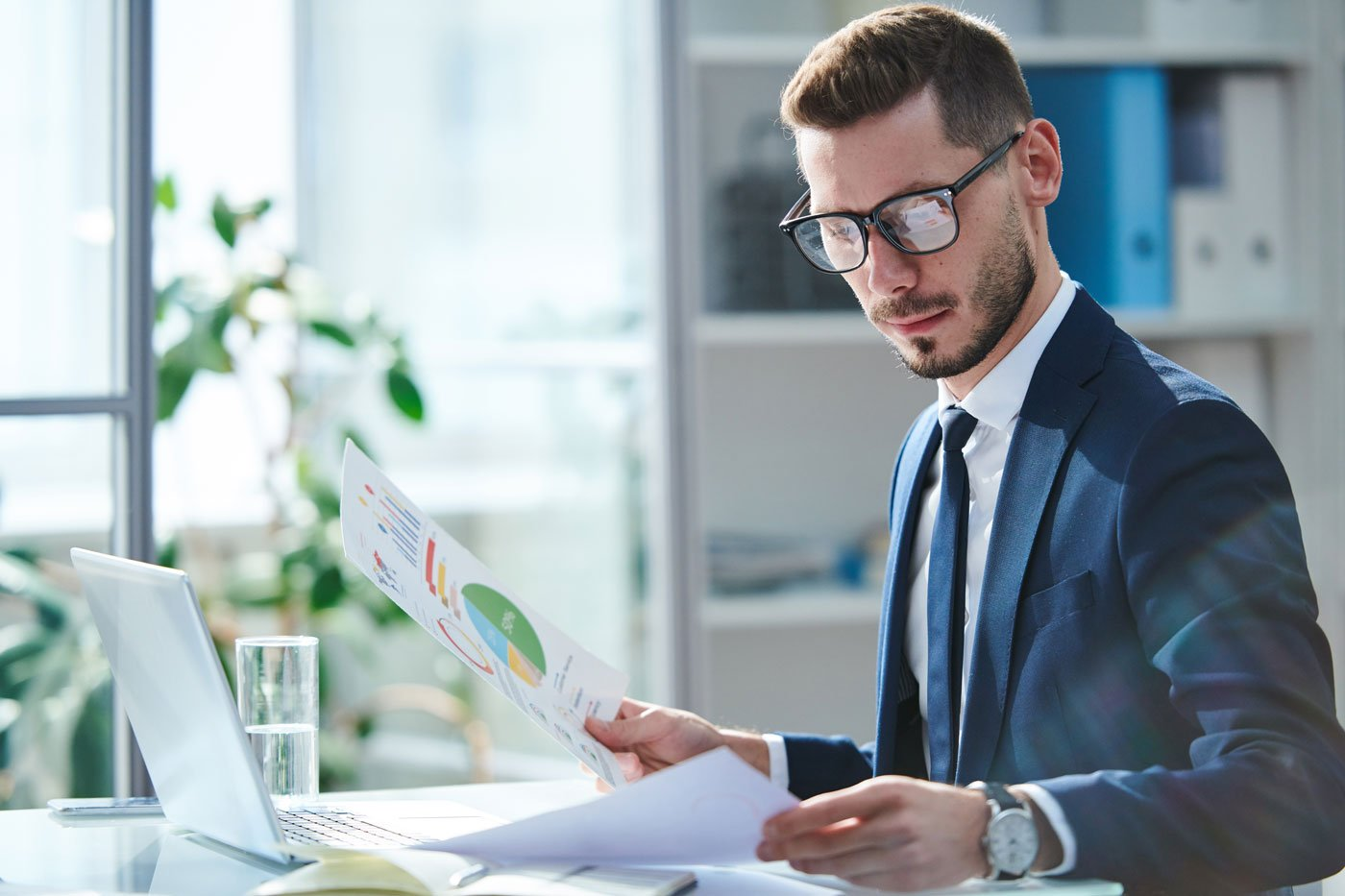 Financial Director reviews financials and sample ratios for nonprofit organizations