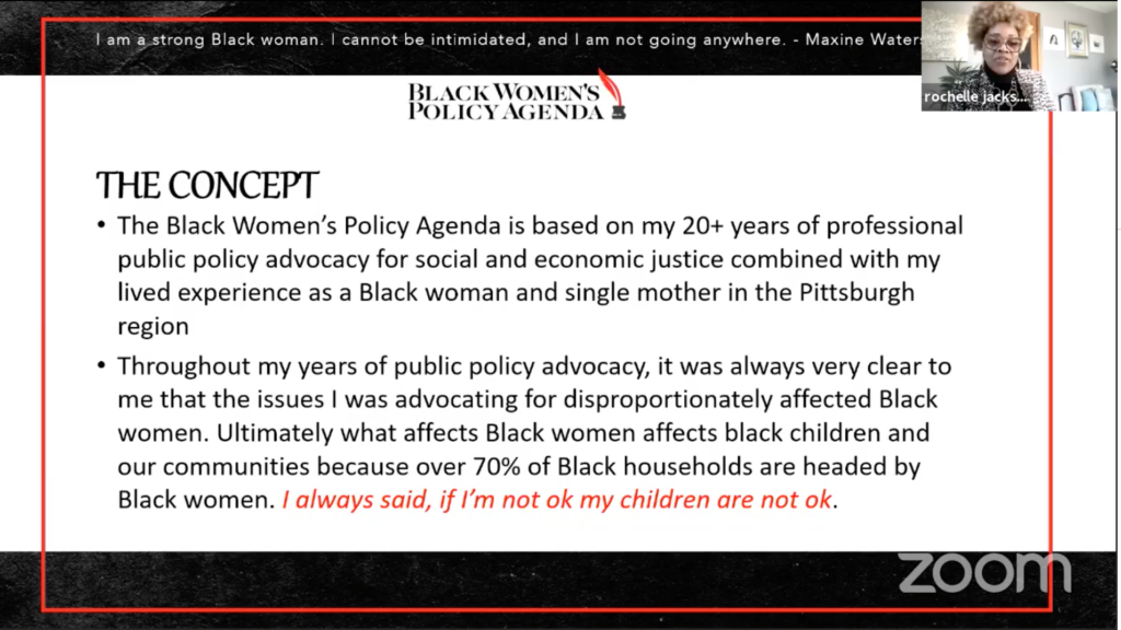 Rochelle Jackson's outline of the Black Women's Agenda based on her lived experience and being a professional policy advocate.