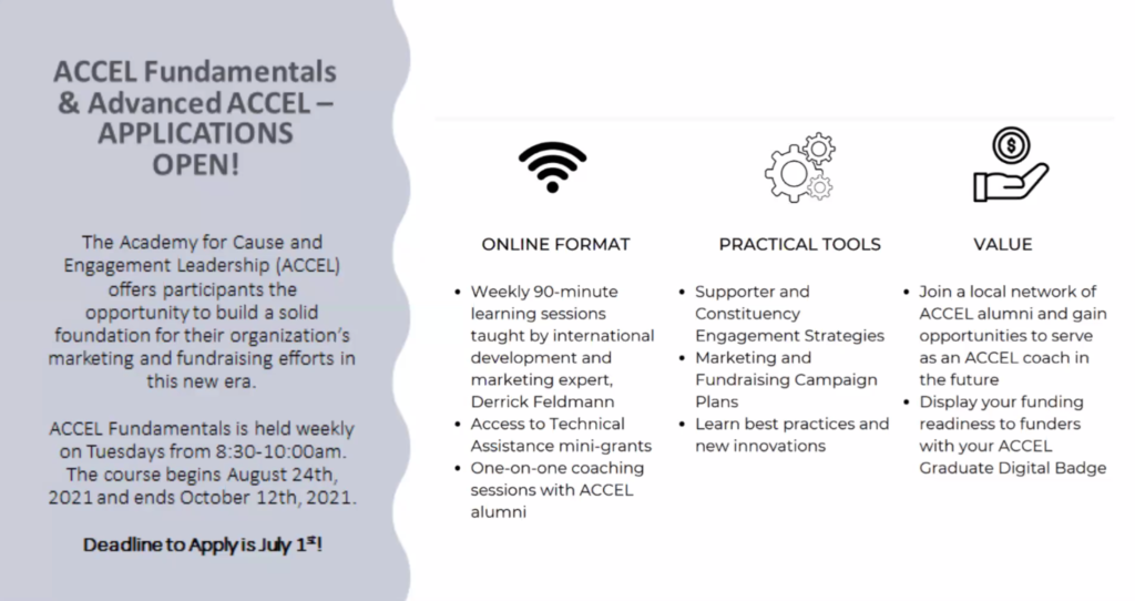 Flyer for The Forbes Funds ACCEL Fundamentals and Advanced ACCEL Applications.