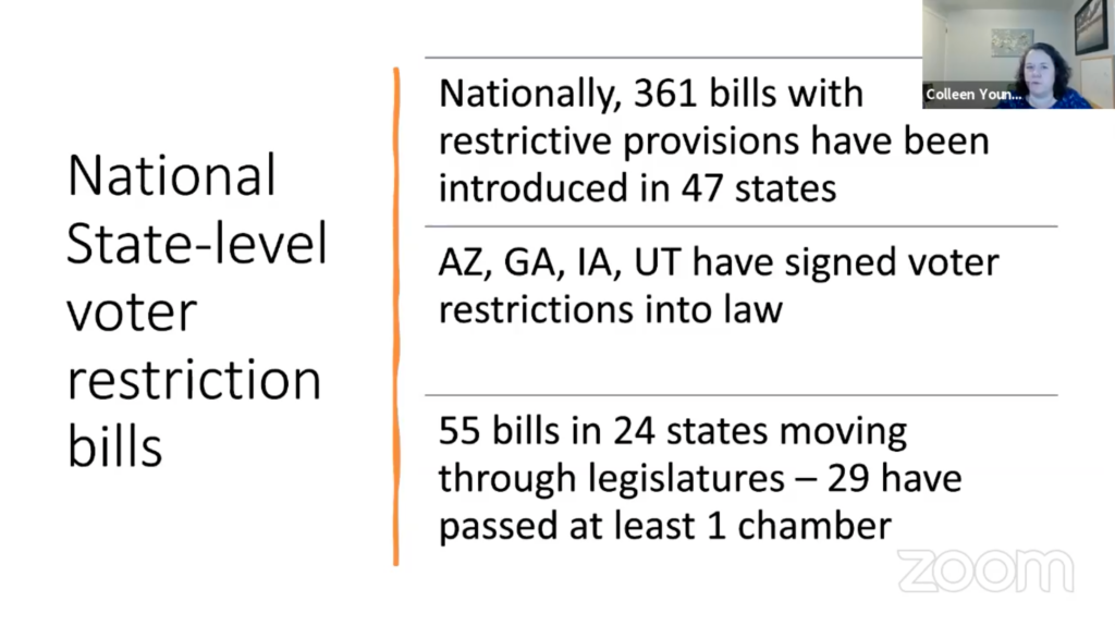 National State-Level Voter Restriction Bill. Nationally over 361 bills have been introduced in 47 states.