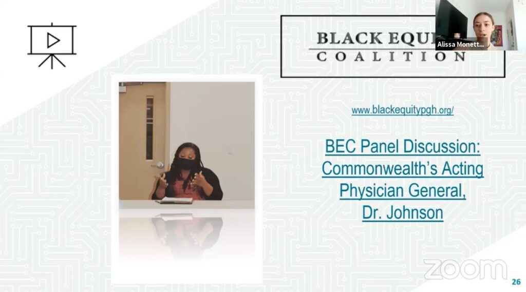Slide of Black Equity Coalition Flyer for panel discussion on Covid-19.