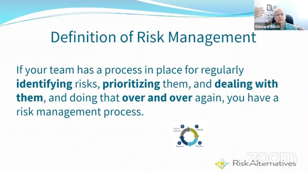 Definition of risk management according to Ted Bilich.