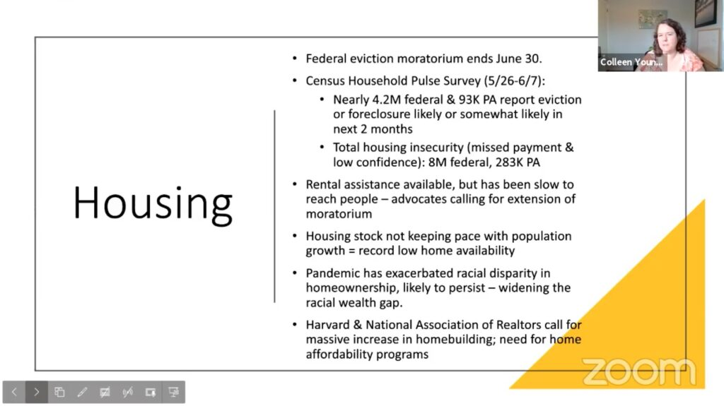 Housing update slide presented by Colleen Young.