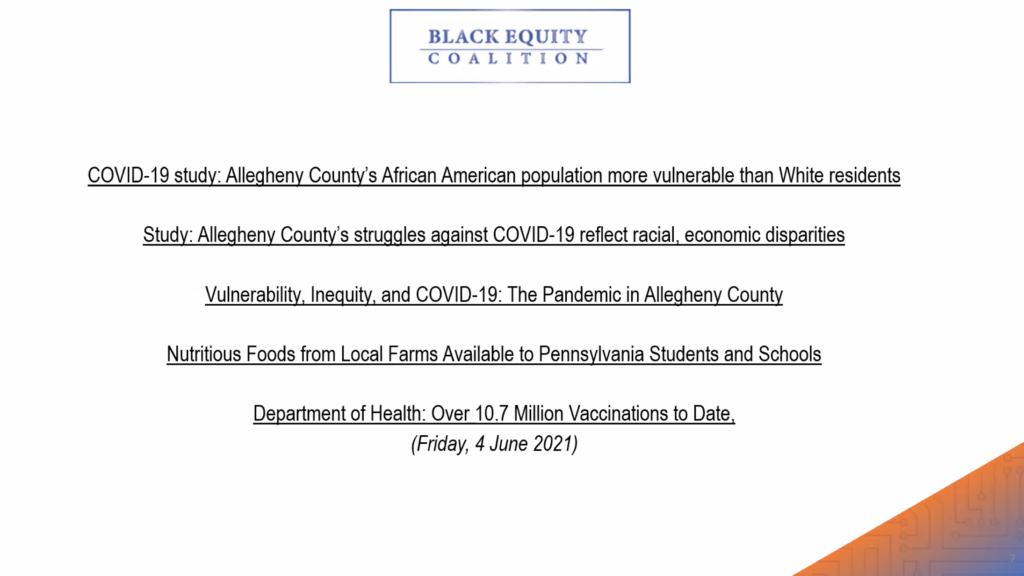 The slide describes the work of the Black Equity Coalition which is conducing a Covid-19 study on Allegheny County's African American population.
