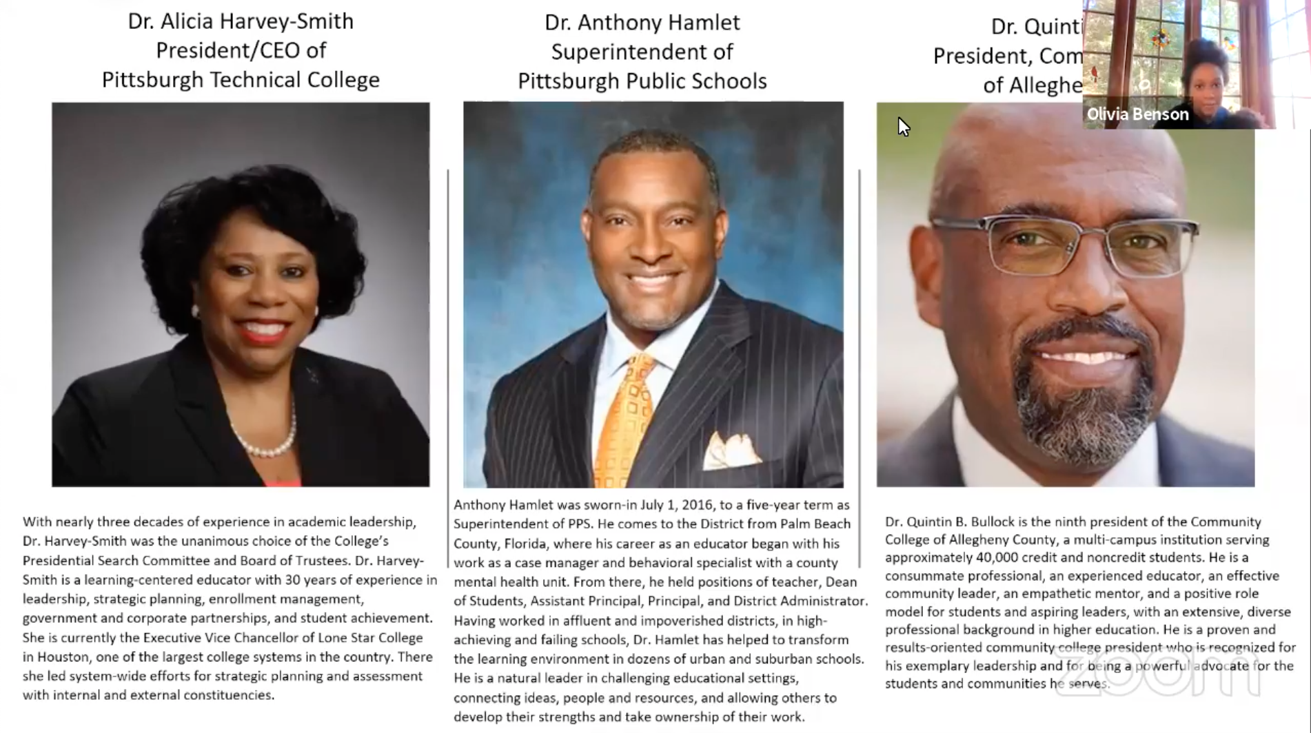 professional biographies of community call guest speakers