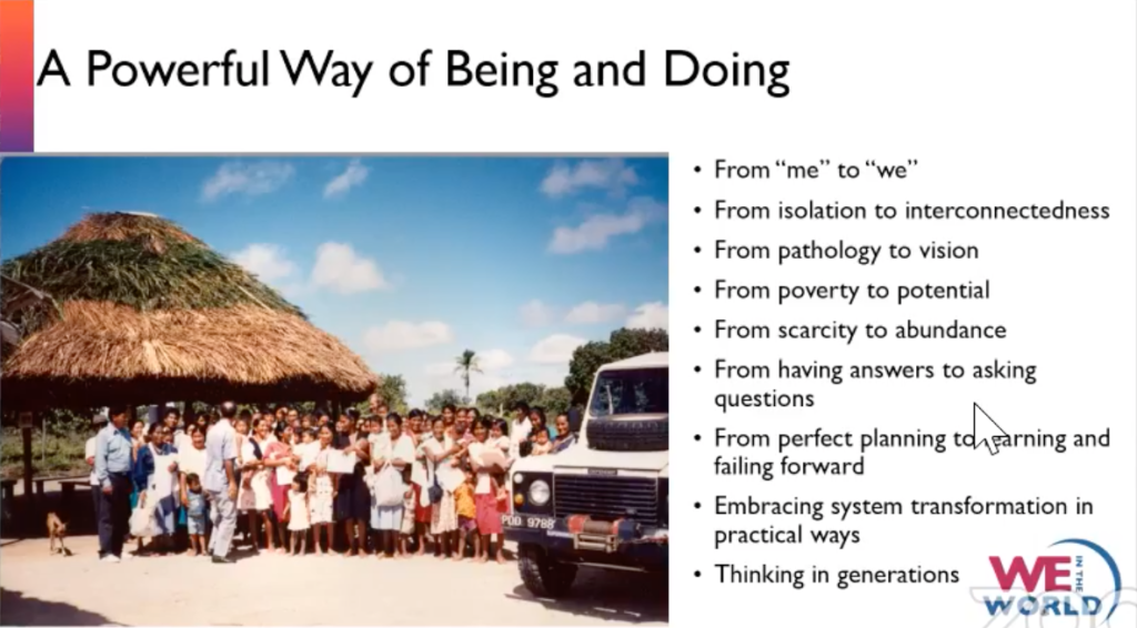 slide that highlights a mental and resource shift when building a community of solutions