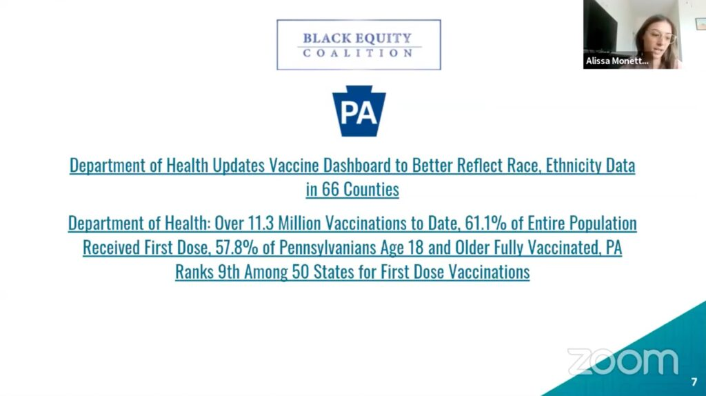 Update Slide from the Black Equity Coalition - presented by Alissa Monette