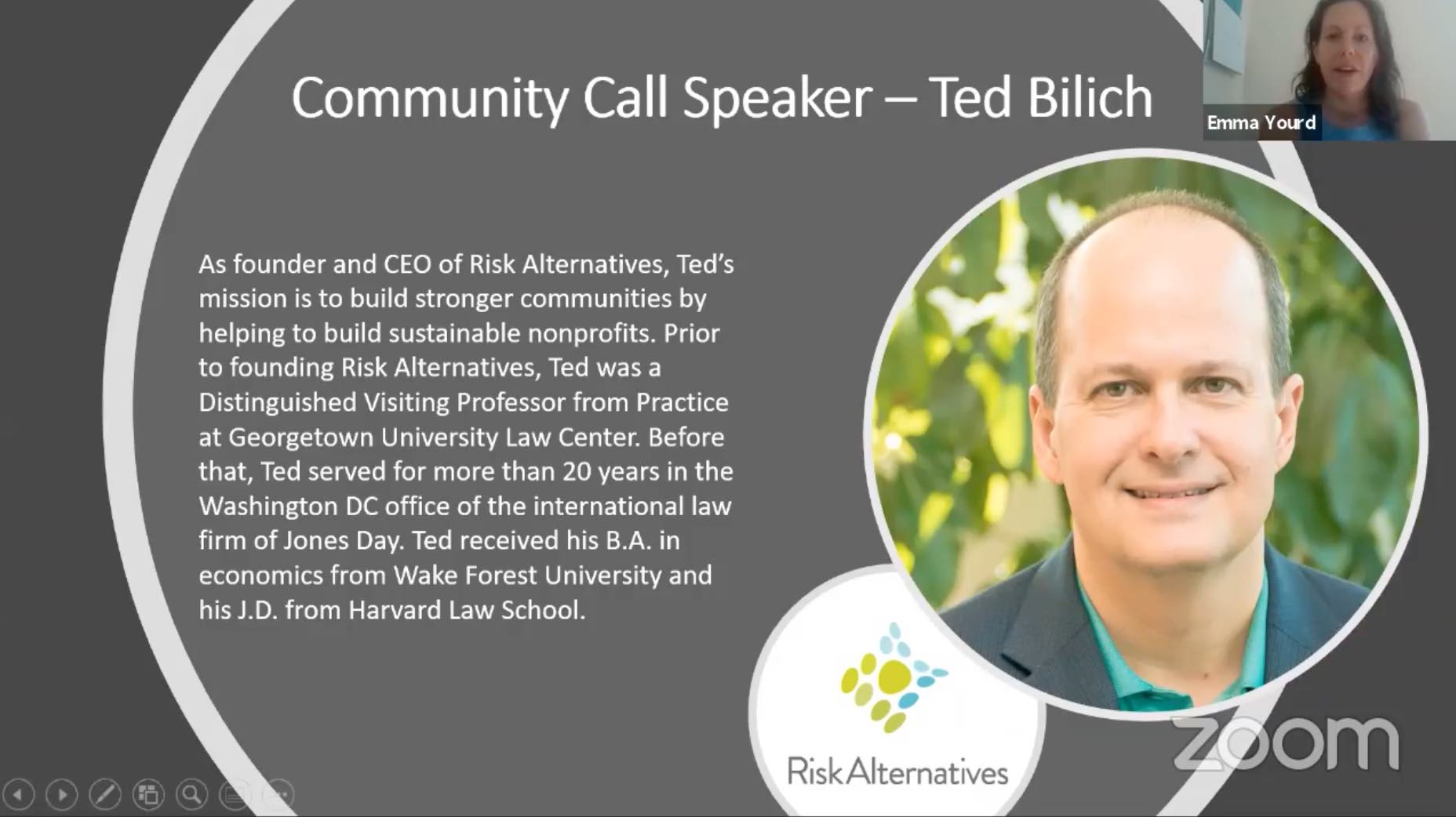 Slide that features the professional bio of Ted Bilich