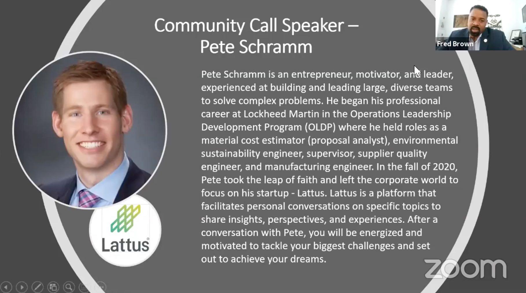 biographical slide of Pete Schramm